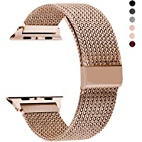 Rxcoo Apple Watch Stainless Steel Mesh Replacement Band (Rose Gold)
