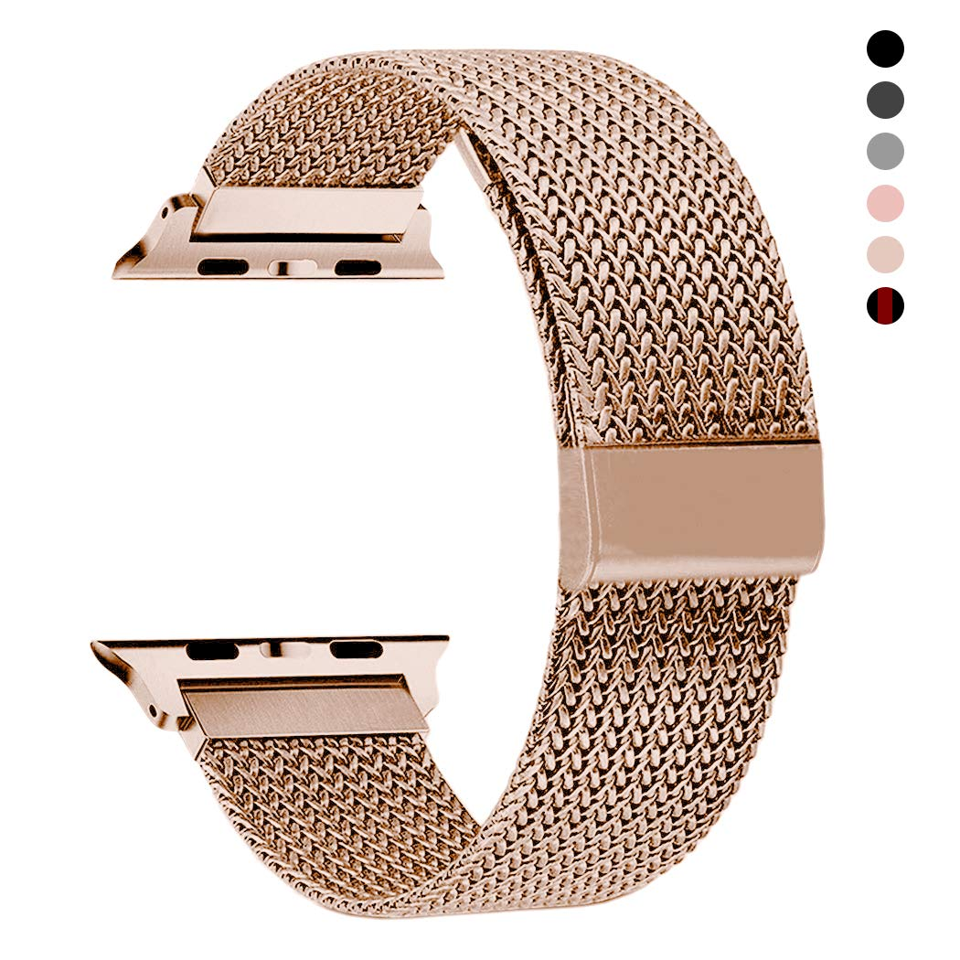 RXCOO Compatible for Apple Watch Band 38mm/40mm 42mm/44mm, Stainless Steel Mesh Wristband Loop Magnet Band Compatible with Iwatch Series 4/3/2/1 (Rose Gold, 38mm/40mm) by RXCOO