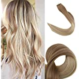 """Full Shine 18"""" Glue in Extensions Human Hair Balayage Ombre Color #4 Fading to #27 and #14 Tape in Adhensive Extensions 2.5g/Pcs 50g/Pack Tape in Real Extensions"""