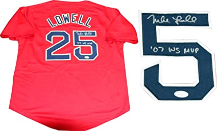 Mike Lowell  quot 07 WS MVP quot  Autographed Boston Red Sox Red Jersey ... 0b1a7b441a5