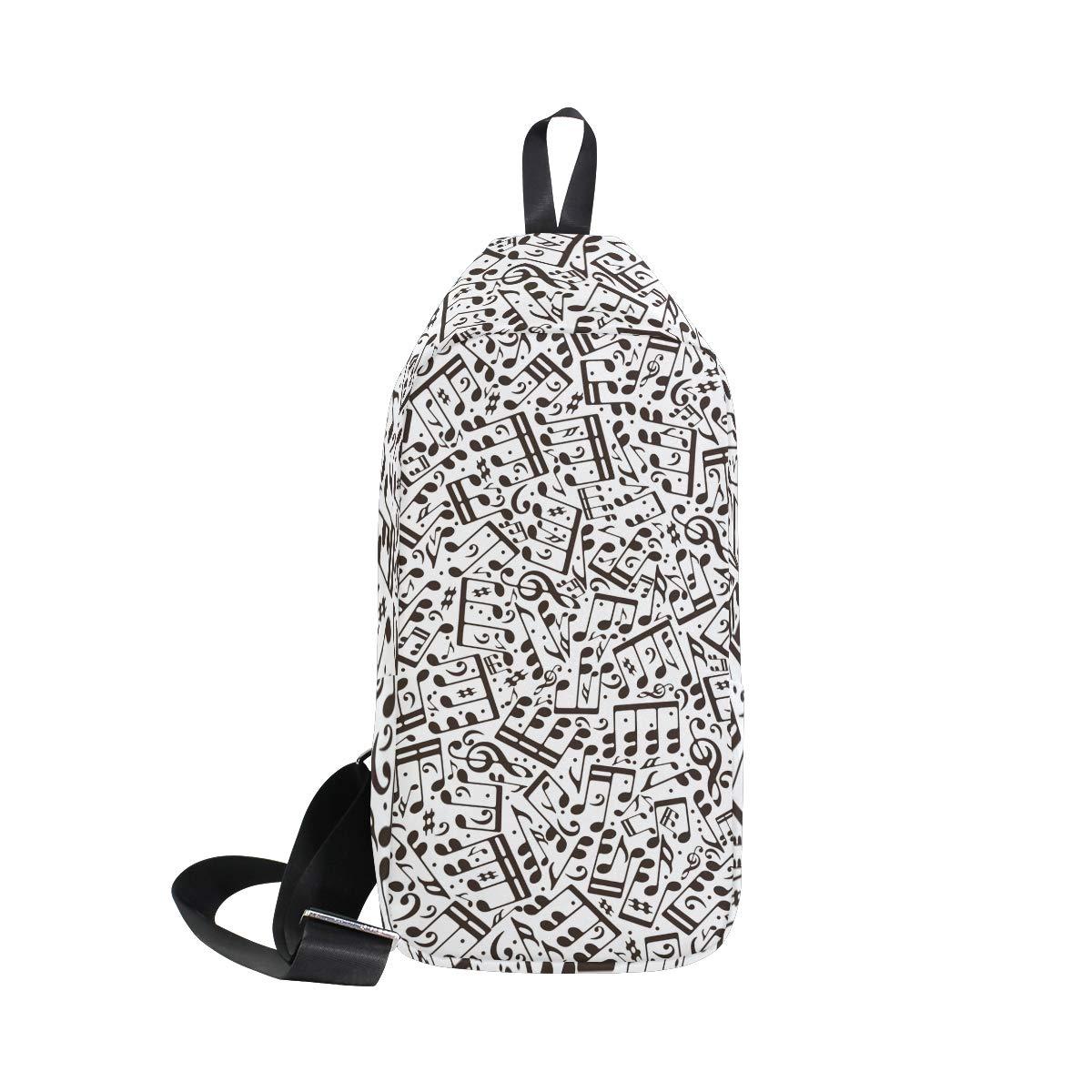 Unisex Messenger Bag Black And White Music Note Shoulder Chest Cross Body Backpack Bag