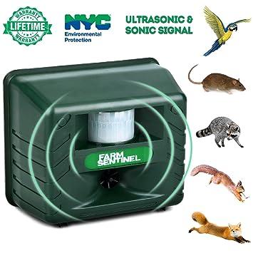 Repelente de animales ultrasónico, repelente de animales al aire libre, impermeable, repelente de plagas, sensor de movimiento, alarma sonora ...