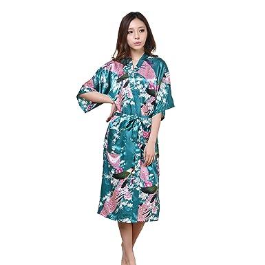TieNew Women s Satin Dressing Gowns Peacock Blossoms Bridesmaid Kimonos  Nightwear Robes ba65c2df9