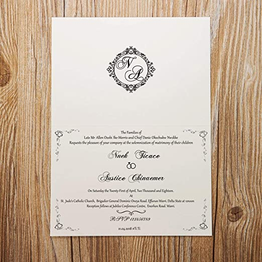 Wishmade 50 Pieces Printable Ivory Horizontal Laser Cut Wedding Invitation  with Embossed Hollow