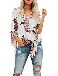 fb1814346c7 Gemijack Womens Floral Blouses Chiffon Summer Short Sleeve Deep V Neck Tie  Front Tops Shirts