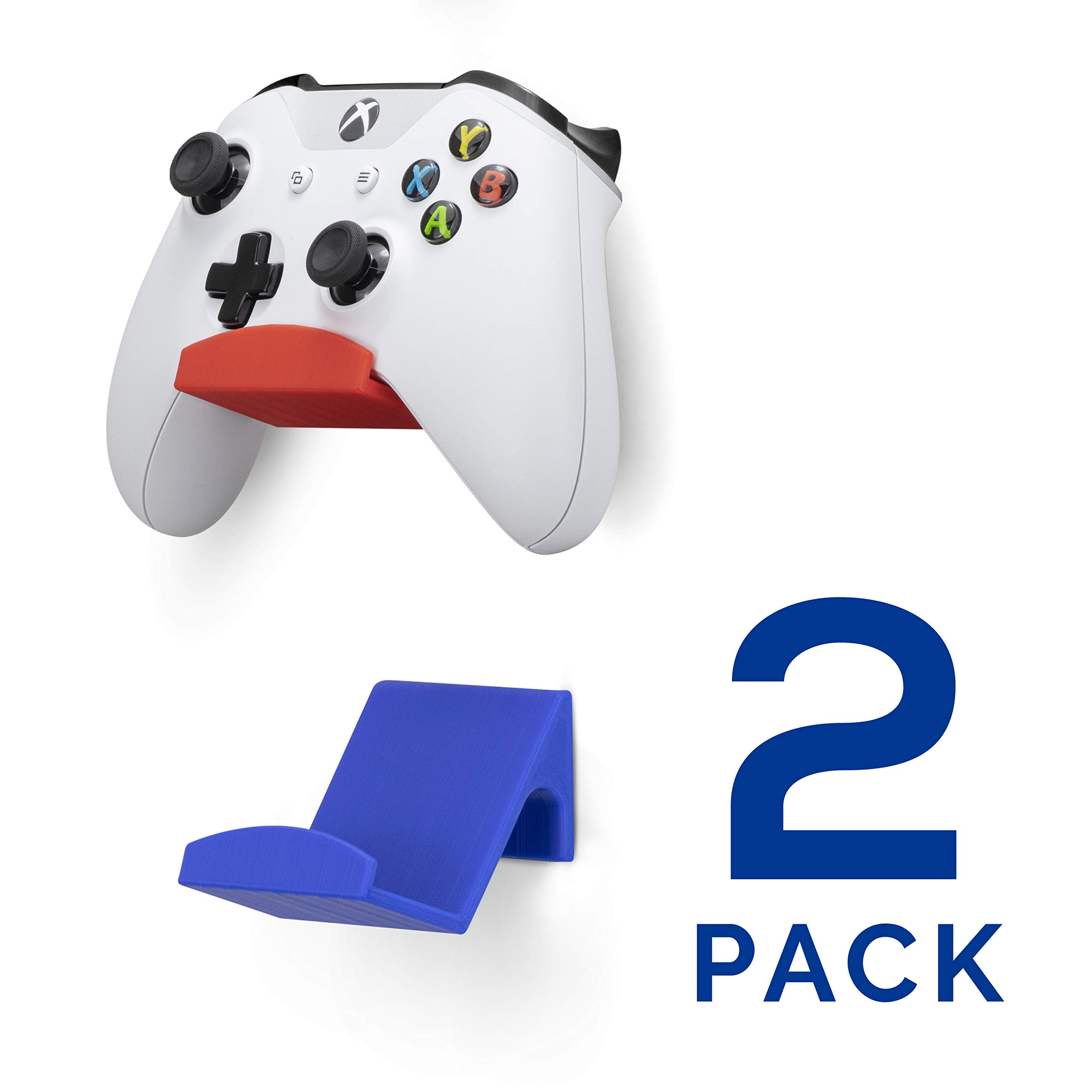 Game Controller Wall Mount Stand Holder (2 Pack) for XBOX ONE SWITCH PS4 STEAM PC NINTENDO, Universal Game Controller Accessories - No screws, Stick on, Red & Blue By Brainwavz by BRAINWAVZ