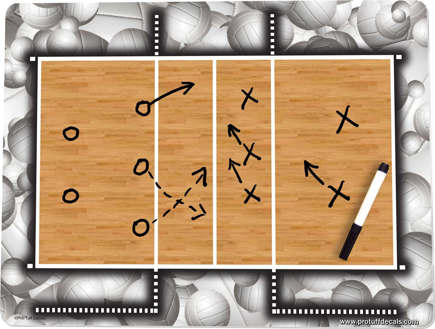 Volleyball Coach's Board Volleyball Court Board 18'' x 24'' Dry Erase Play Board Pro-Tuff Board