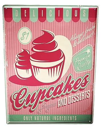 Amazon.com: Cartel de chapa cocina Cupcakes: Home & Kitchen