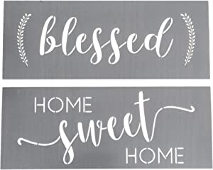 Blessed Stencil and Home Sweet Home Stencil - Modern Word Stencils for Making a DIY Sign + DIY Wall Decor - Set of 2 Reusable Sign Stencils For Painting on Wood +More - Script Stencil + Quote Stencils