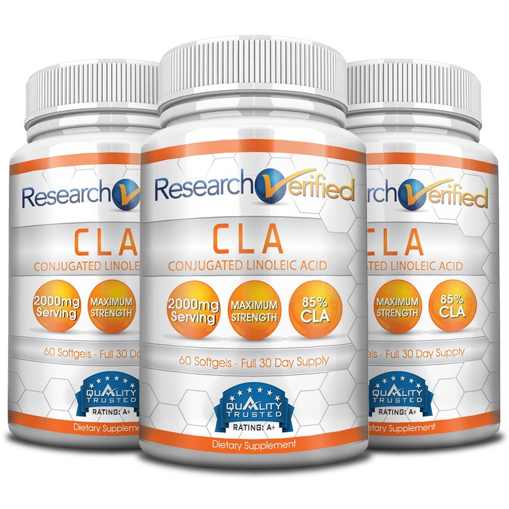 Research Verified CLA - 2000mg 85% Conjugated Linoleic Acid - Top Proven Potency - 100% Pure - 100% 365 Days Money Back Guarantee - 3 Bottles (3 Months Supply) - Natural Weight Loss Management