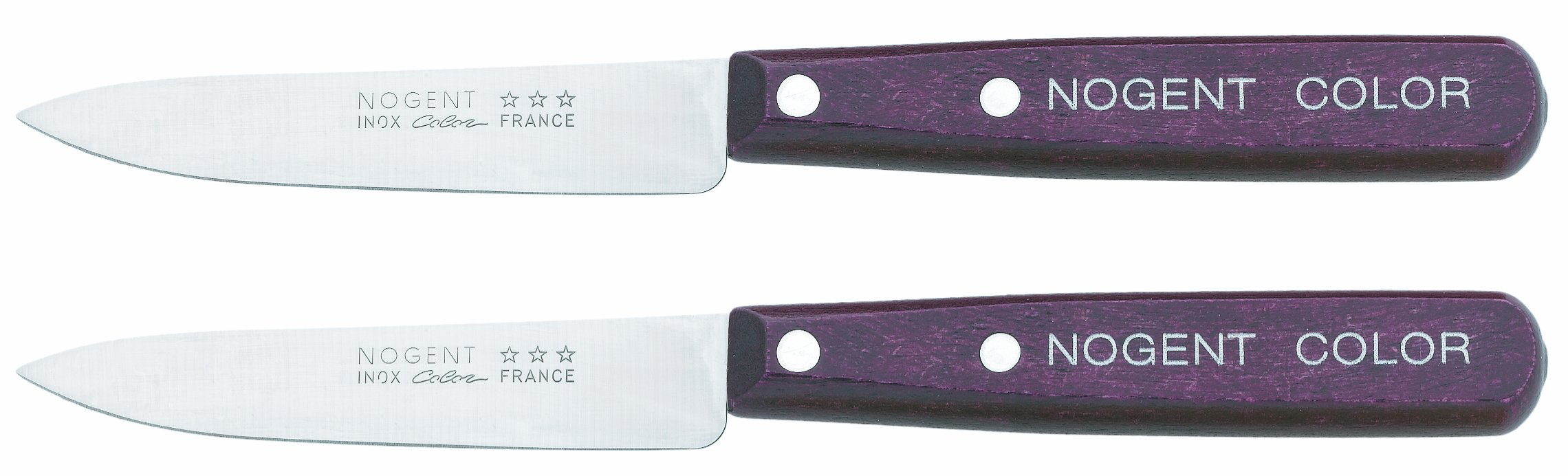 Nogent Hornbeam Wood Handled 3-1/2-Inch Paring Knives, Plum, Set of Two