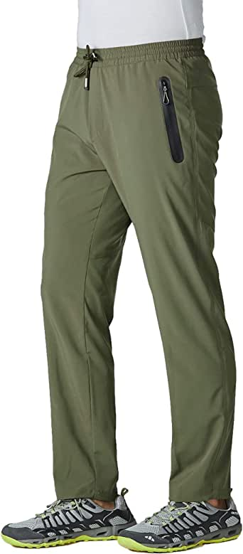 MAGCOMSEN Men's Lightweight Running Pants Open Bottom Drawstring Breathable Quick Dry Pants with Zipper Pockets