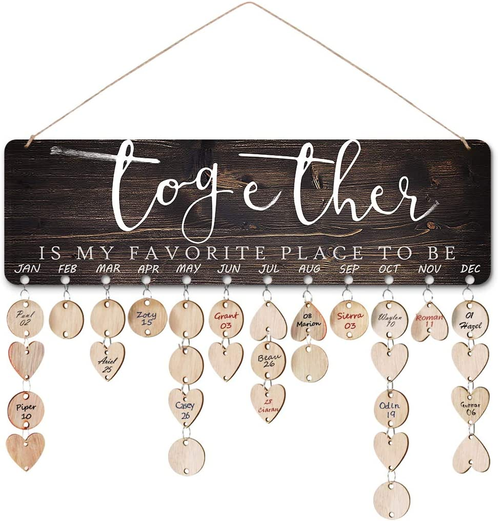 ElekFX?Grandma Gifts-Together is My favorate Place to be Wall Hanging Plaque Birthday Wall Calendar Board for Family&Friends Home Decor Board(Together M)