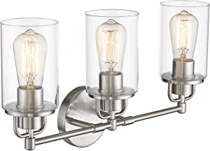 FEMILA Wall Vanity Light Fixture, 3-Light Vintage Bathroom Lighting Over Mirror, Brushed Nickel Finish with Clear Glass Shade, 4FH06-3W BN