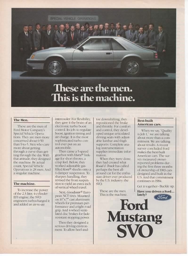 Amazon.com: Magazine Print Ad: Silver 1984 Ford Mustang SVO, 28 Men of Special Vehicle Operations,