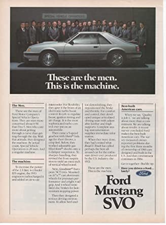 Magazine Print Ad: Silver 1984 Ford Mustang SVO, 28 Men of Special Vehicle Operations