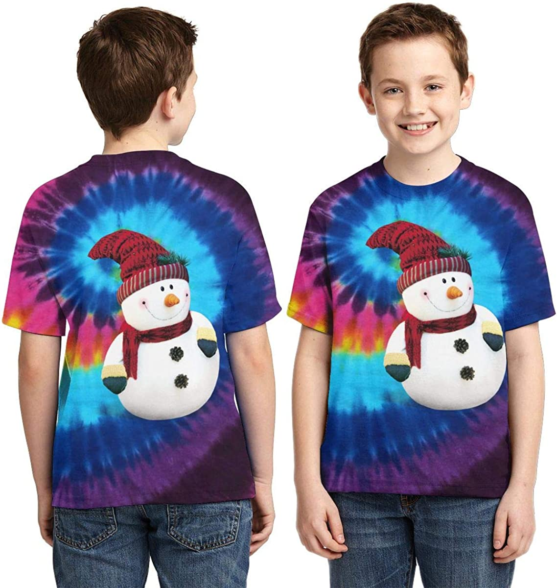 AMODECO Merry Christmas Snowman 3D Printed Tee T-Shirt for Youth Teenager Boys Girls