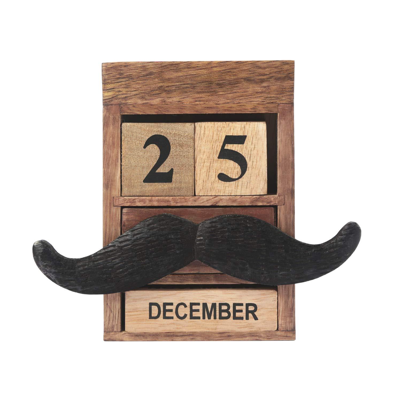 storeindya Thanksgiving Cadeaux Moustache Multi Utility Agenda Calendrier + Stand de Lunettes Stylo Porte-Crayon et Un Petit tiroir-dé coration de Bureau-Cadeau de Noë l