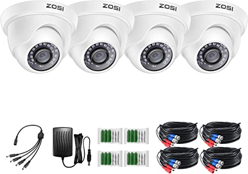 ZOSI 4 Pack 2MP 1080p HD-TVI Home Security Camera Outdoor Indoor 1920TVL, 24PCS LEDs, 80ft Night Vision, 90 View Angle, Weatherproof Surveillance CCTV Dome Camera