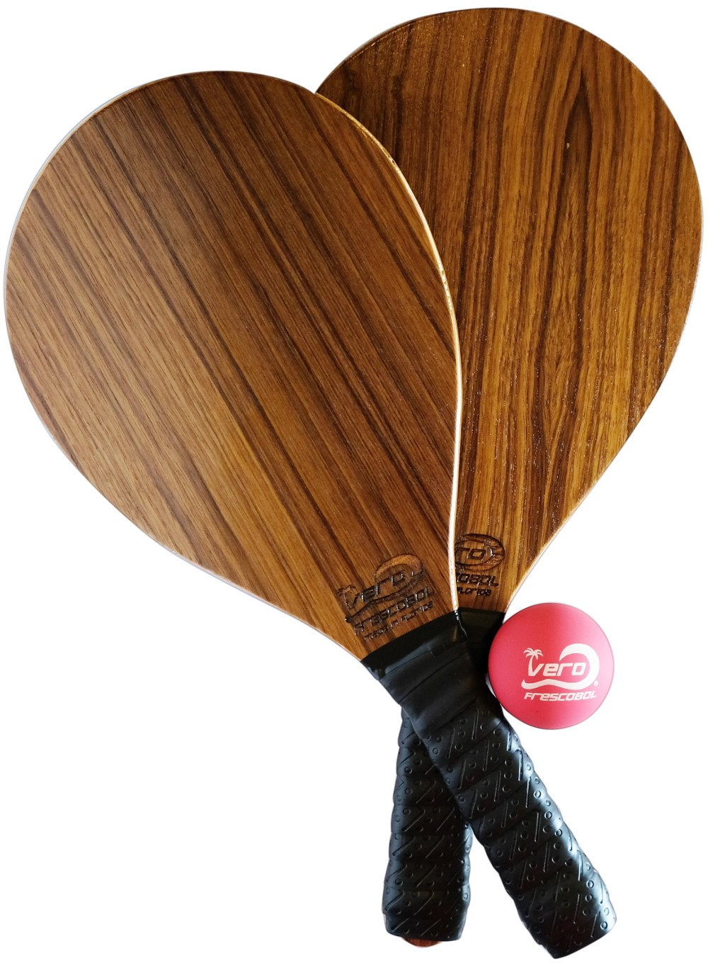 Frescobol Exotic Teak Wood Paddle Set, Official Ball, Beach Bag, Made in USA