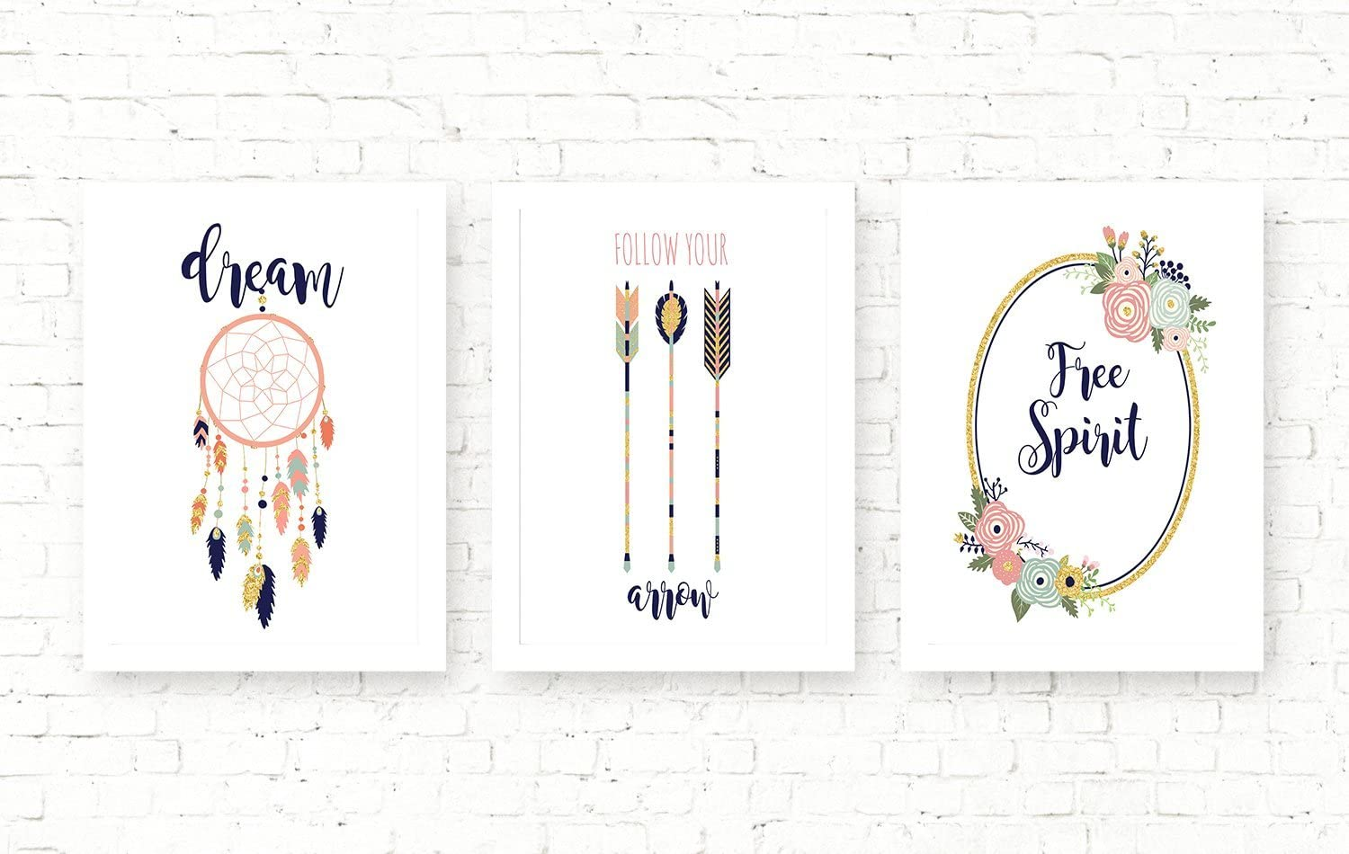 Silly Goose Gifts Free Spirit Boho Tribal Themed Pink Navy Teal Wall Room Art Prints (Set of 3: Dream)