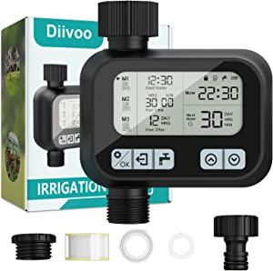Sprinkler Water Timer, Diivoo Automatic Hose Timer with Rain Delay for Standard Outdoor Garden Faucet, Drip Irrigation Timer with Auto and Manual Watering for Lawn, Patio, IP55 Waterproof