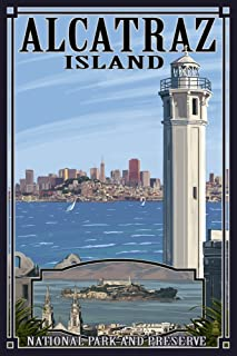 product image for San Francisco, California - Alcatraz Island and City (12x18 Art Print, Wall Decor Travel Poster)