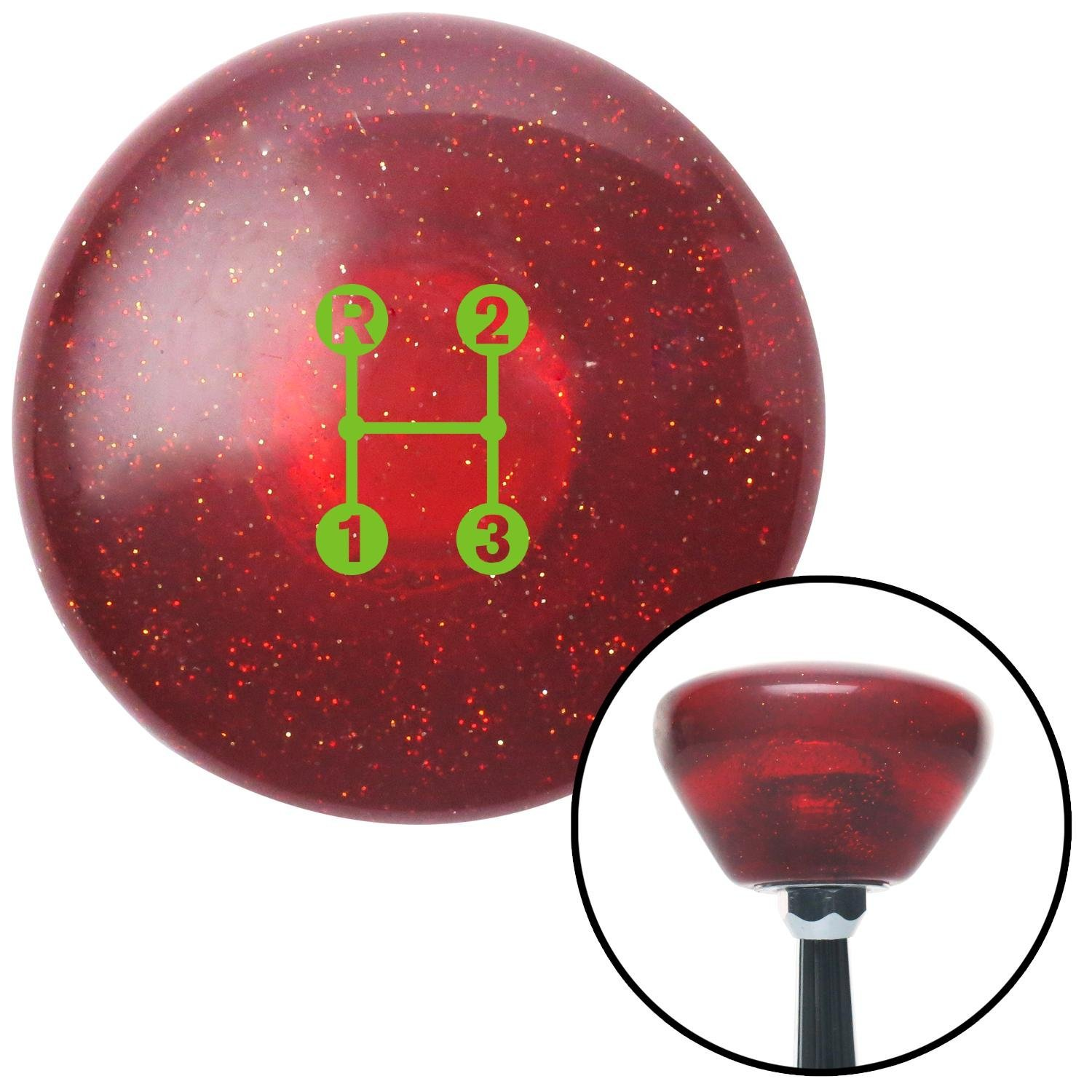American Shifter 290977 Shift Knob Green 3 Speed Shift Pattern - Dots 11n Red Retro Metal Flake with M16 x 1.5 Insert