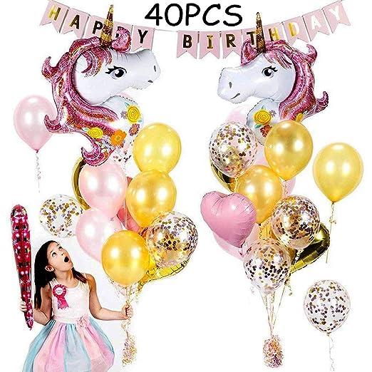 Tumao 40 pcs Rosa Unicornio Decoracion Fiesta Cumpleaños, Globos Unicornio Niña globos de Confeti rosa, Globo de Latex Dorado y Globo Corazon de Papel ...