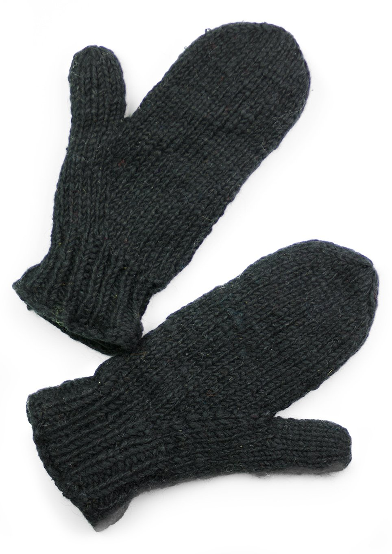 TCG Women's Hand Knit Wool Mittens - Black