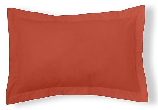 ESTELA - Funda de cojín Combi Lisos Color Tierra - Medidas 50x75+5 cm. - 50% Algodón-50% Poliéster - 144 Hilos - Acabado en pestaña