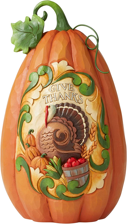 Enesco Jim Shore Heartwood Creek JS Give Thanks Pumpkin Figurine