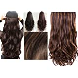 Artifice Super Volume 200g 26 Inch 5 Clips Curly/ Wavy Hair Extension Golden Highlighted