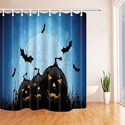 Amazon.com: Nyngei Happy Halloween Shower Curtains Horrible Pumpkin on