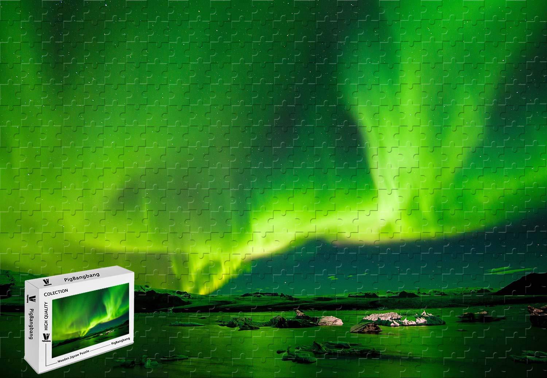 PigBangbang、34.4 X Radiance 22.6インチ Night、Intellectiv ゲーム バスウッド - ジグソーパズル 接着剤付き - Radiance Sky Northern Lights Night Green - 1500ピース ジグソーパズル B07HN5ZZNJ, 牛津町:38797c16 --- m2cweb.com