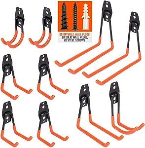 HORUSDY 10-Pack Garage Hooks, Heavy Duty Steel Garage Storage Hooks Utility Double Hooks for Organizing Power Tools, Ladders, Bikes, Bulk Items