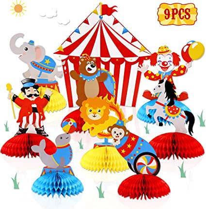 Party Tableware Decorations Vintage Circus 3D Carousel Table Centerpiece