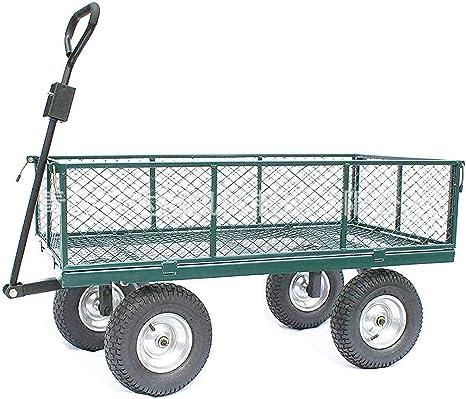 DNNAL Remolque Gran jardín, Heavy Duty Camping Empuje el Carro Carro con Lados Plegables para jardín Que acampa (700 Kg de Capacidad),Verde: Amazon.es: Deportes y aire libre