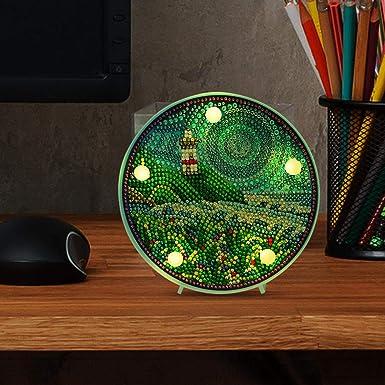 Domybest Paysage Phare DIY 5D Diamond Painting Complet avec Lampe LED Blanche Chaude Veilleuse Enfants Lampe de Table /à piles Lampe D/écorative pour Chambre /à Coucher Salon