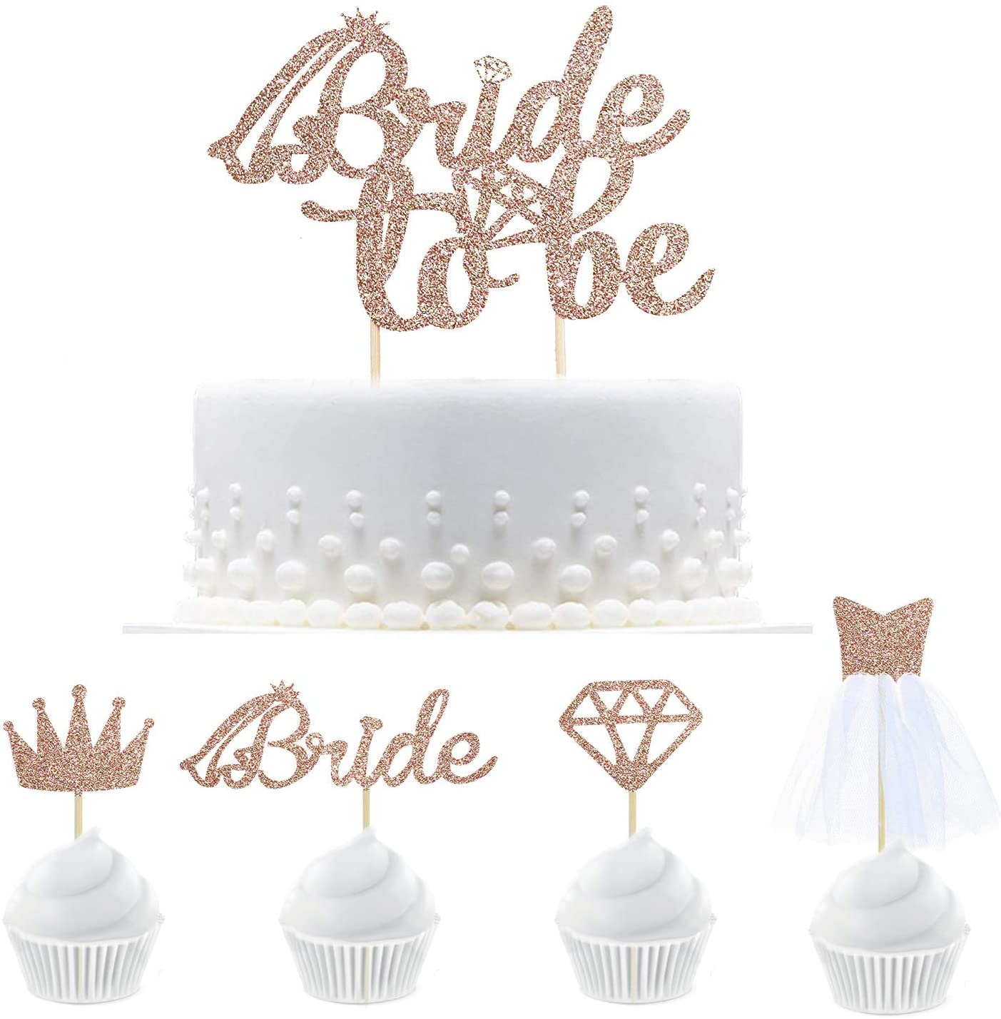 1Pc Bride To Be glitter Gold Cake Topper Cupcake Pick Hens Party Cake Decor RS