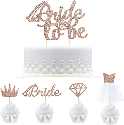 Bride to Be Cake Topper Hen Party Cake Topper Glitter Gold