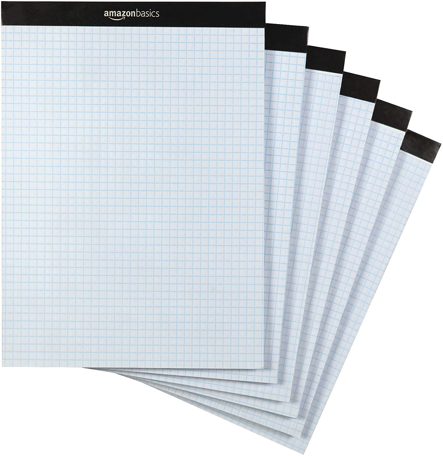 "AmazonBasics Quad Ruled Graph Paper Pad, Letter Size 8.5"" x 11"", 6-Pack"