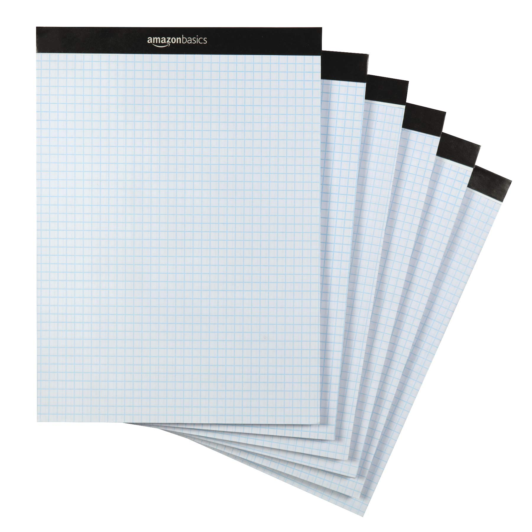 "Amazon Basics Quad Ruled Graph Paper Pad, Letter Size 8.5"" x 11"", 6-Pack"