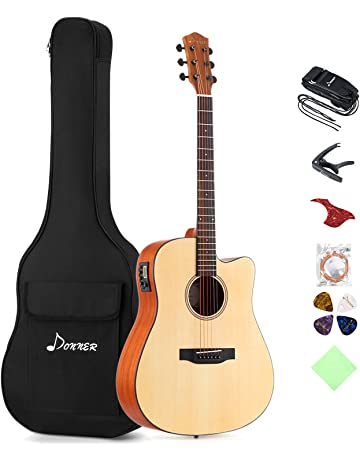 Donner DAG-1CE Electric Acoustic Guitar Cutaway 41 Full-size Guitar Bundle