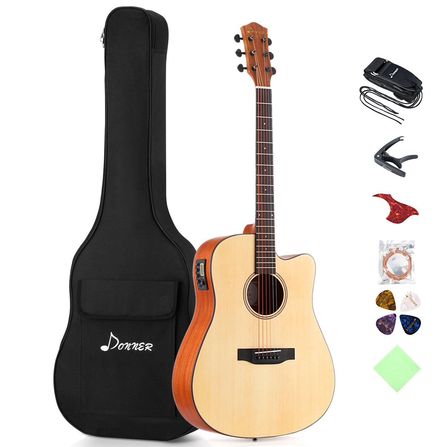 Donner DAG-1CE Electric Acoustic Guitar Cutaway 41'' Full-size Guitar Bundle Built-in Preamp with Bag Strap Tuner String