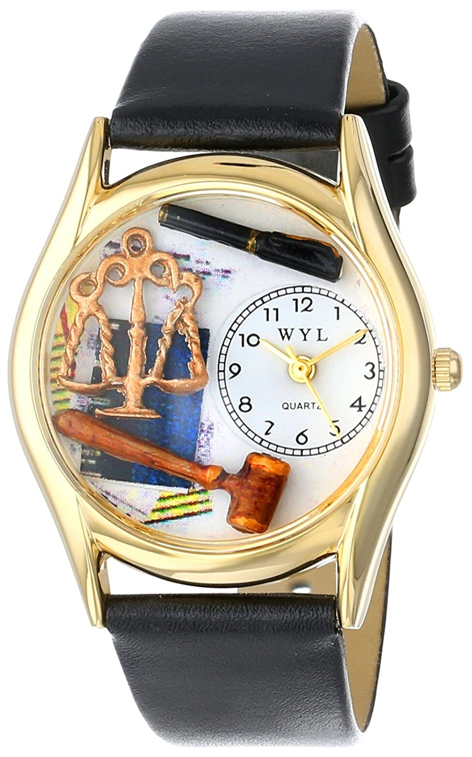 Whimsical Watches Women s C0620002 Classic Gold Lawyer Black Leather And Goldtone Watch
