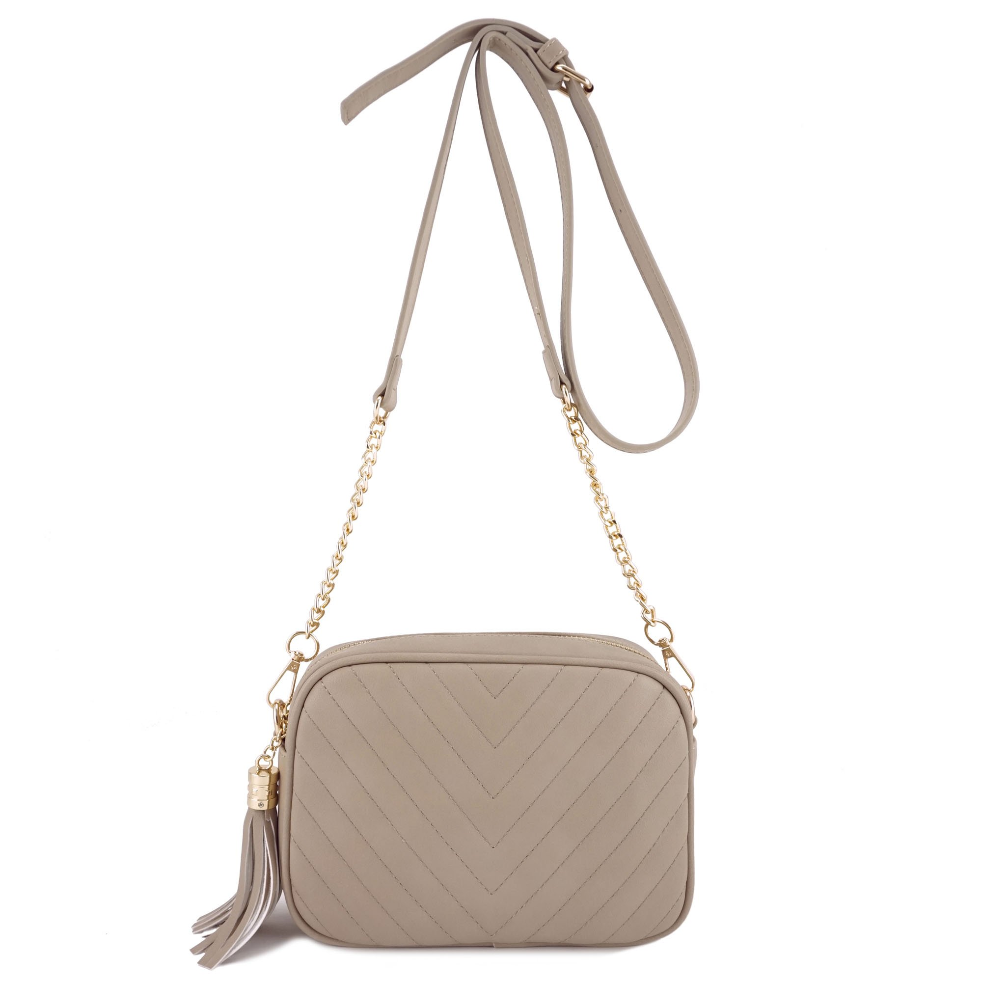 Simple Shoulder Crossbody Bag With Metal Chain Strap And Tassel Top Zipper (Taupe)