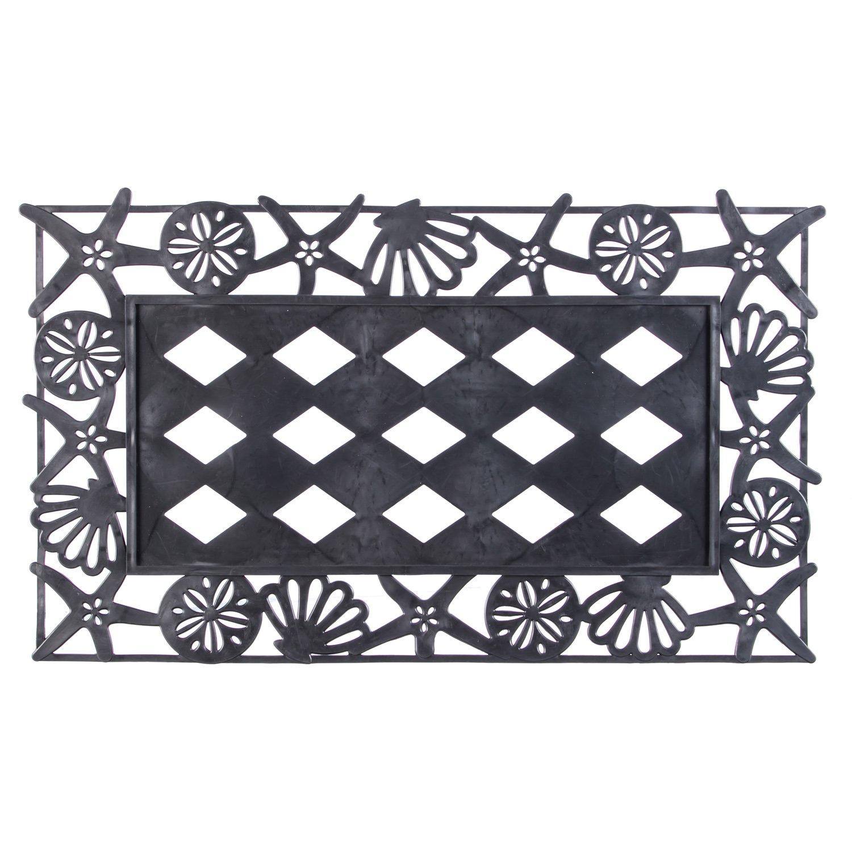 Evergreen Seashells Sassafrass Decorative Floor Mat Insert Frame, 30 x 18 inches