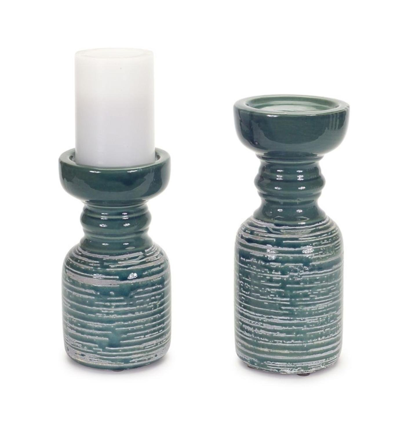 "Set of 2 Exquisite White and Dark Turquoise Clay Pillar Candle Holders 9.75"" by Melrose"
