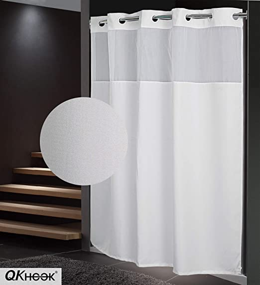 Amazon Com Qkhook Plain Pattern Fabric Shower Curtain With Snap